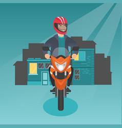 Caucasian man riding a motorcycle at night vector
