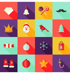 Christmas Square Flat Icons Set 1 vector image