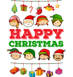 Christmas theme with people and presents vector