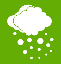 Cloud with hail icon green vector