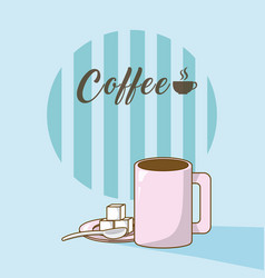 Coffee cup with sugar cubes vector