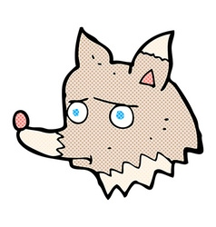 Comic cartoon unhappy wolf vector