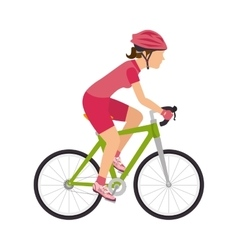 cyclist woman riding sport bike vector image