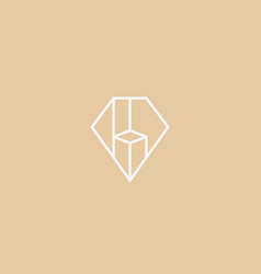 diamond gem logo design premium furniture vector image vector image