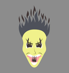 Flat icon on theme evil face vector