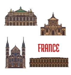 French travel landmarks icon for tourism design vector