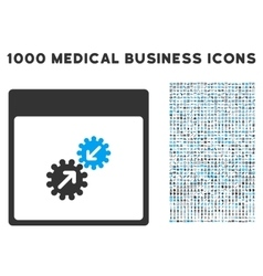Gears integration calendar page icon with 1000 vector