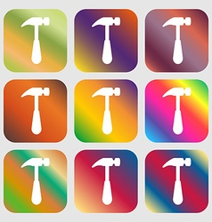 Hammer icon sign Nine buttons with bright vector image