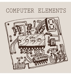 hand draw computer circuit board on paper vector image vector image