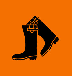 Hunters rubber boots icon vector