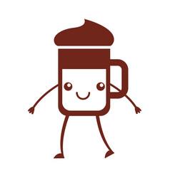 Iced coffee glass kawaii character vector