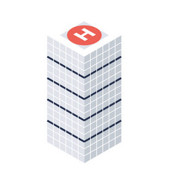 isometric skyscraper with helipad building icon vector image vector image