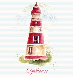 Lighthouse in watercolor technique vector image vector image