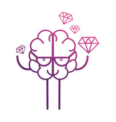 Line brain kawaii with dimonds icon vector