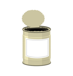 Open cans isolated opened tin bank on white vector