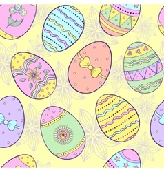 seamless pattern with easter eggs vector image