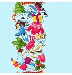 Seamless pattern with winter stickers Merry vector image vector image