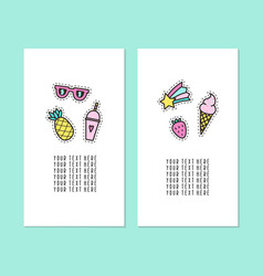 Set of two card templates modern pins vector