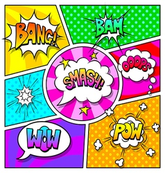 Speech bubbles and sound effects on comic book vector image