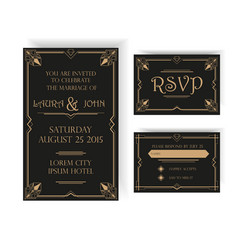 Wedding Invitation and RSVP Card - Art Deco vector image vector image