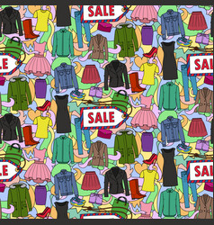 Woman clothes sale seamless pattern vector