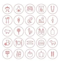 Line Circle BBQ Icons Set vector image