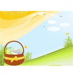 spring Easter basket vector image