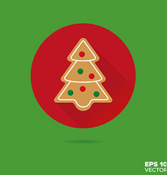 Gingerbread christmas tree flat design icon vector