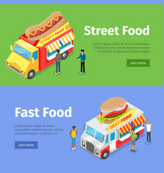 Fast and street food minivans selling hotdogs vector