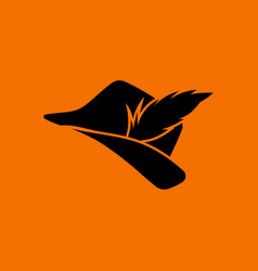 hunter hat with feather icon vector image