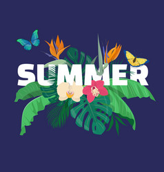 Summer tropical composition with tropical leaves vector