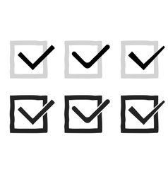 Hand drawn check marks or ticks confirm icons set vector image