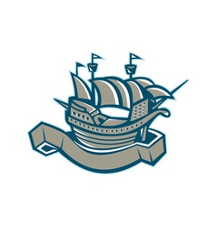 Sailing ship galleon scroll vector
