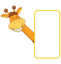 Baby animal banner giraffe cartoon label vector