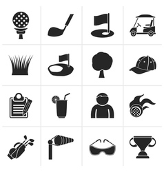 Black golf and sport icons vector