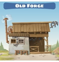 Old forge in the wild west story series card vector