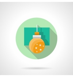 Round flat icon for yellow bauble vector