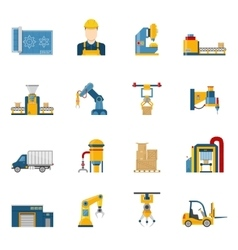 Production line icons isolated vector