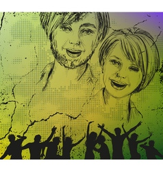 Grunge Sketch Background of People vector image