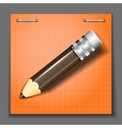 Small pencil on the orange paper sheet background vector