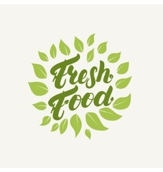 Fresh food logo badge label hand written vector