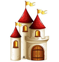 A castle with yellow banners vector image vector image