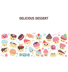 background with cute cakes background with cute vector image vector image