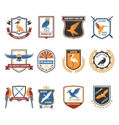 Birds emblems flat icons collection vector