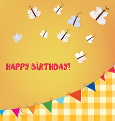 Birthday card with butterflies and bunting flags vector image vector image