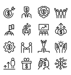 Business success icon set in thin line style vector