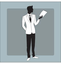 Businessman in modern clothes reads the report vector image