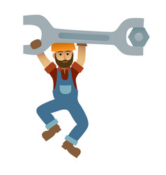 Cartoon mechanic holding a huge wrench under vector