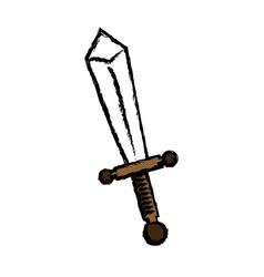 cartoon sword weapon war metal comic vector image