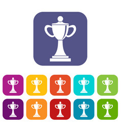 Championship cup icons set vector